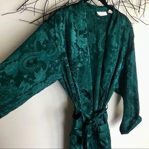 Vintage Victoria's Secret green floral robe gold